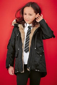 Black Posh Parka (3-16yrs)