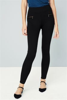 Black Ponte Zip Leggings