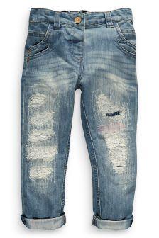 Denim Mid Blue Rip And Repair Jeans (3mths-6yrs)