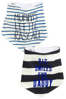 Ecru/Navy Daddy And Mummy Dribble Bibs Two Pack