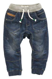 Denim Dark Blue Rib Waist Jersey Lined Jeans (3mths-6yrs)