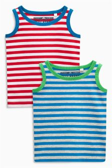 Red/Blue Stripe Vests Two Pack (3mths-6yrs)