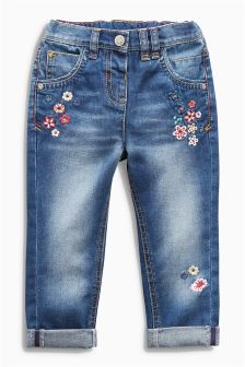 Denim Flower Embroidered Jeans (3mths-6yrs)