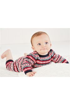 Red Fairisle Pattern Romper (0mths-2yrs)
