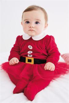 Red Mrs Santa Velour Sleepsuit (0mths-2yrs)