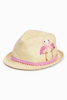Natural Flamingo Embroidered Trilby (Younger Girls)