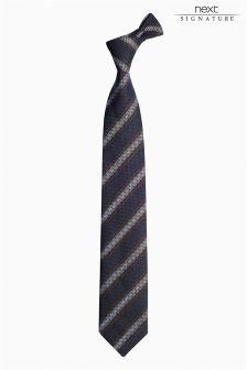 Navy Signature Italian Silk Striped Tie