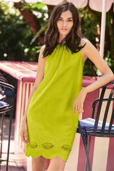 Lime Linen Blend V Back Broderie Dress
