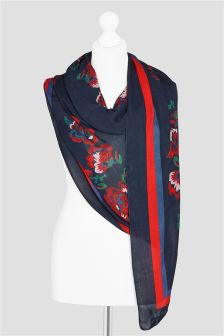 Navy Printed Floral Embroidered Effect Scarf