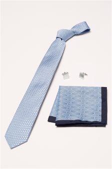 Blue Tie, Pocket Square And Cufflink Set