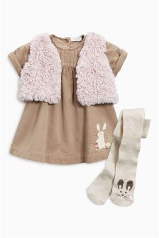 Mink Cord Dress, Gilet And Tights Set (0mths-2yrs)