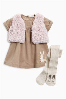 Nerzfarbenes Cord-Kleid, Weste und Strumpfhose, im Set (0 Monate bis 2 Jahre)