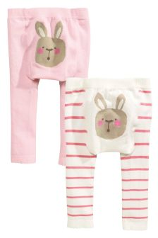 Pink/Cream Bunny Tights Two Pack (0mths-2yrs)
