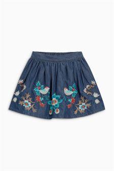 Denim Dark Blue Flower Embroidered Skirt (3mths-6yrs)