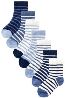 White/Blue Stripe Socks Seven Pack (Younger Boys)