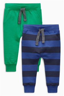 Green/Blue Stripe Joggers Two Pack (3mths-6yrs)