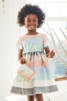 Multi Pastel Stripe Metallic Dress (3-16yrs)