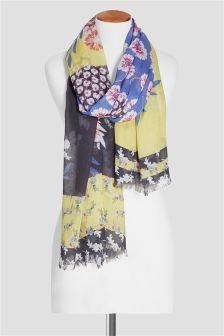 Multi Floral Spliced Scarf