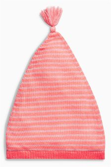 Pink Fluro Stripe Knit Hat (0mths-2yrs)