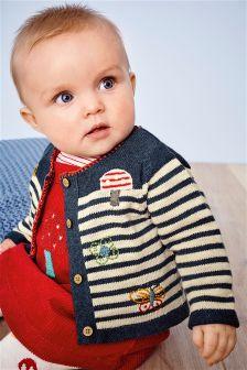 Navy Stripe Embroidered Cardigan (0mths-2yrs)