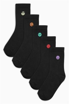 Black Embroidered Faces Socks Five Pack (Older Boys)