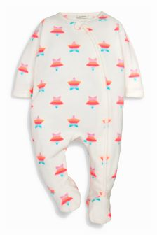 White/Pink Fluro Star Fleece Sleepsuit (0mths-3yrs)