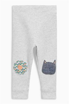 Grey Embellished Knee Leggings (3mths-6yrs)