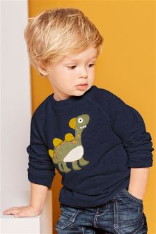 Navy Appliqué Dinosaur Crew Neck Jumper (3mths-6yrs)