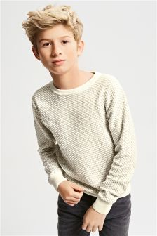 White Brick Stitch Crew Neck Sweater (3-16yrs)