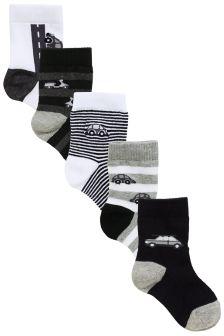 Monochrome Transport Socks Five Pack (Younger Boys)