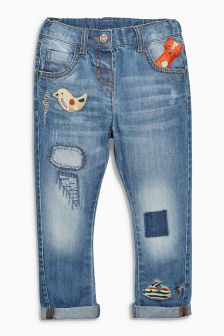 Mid Blue 3D Character Jeans (3mths-6yrs)