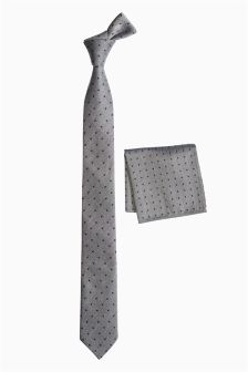 Grey/Blue Spot Tie And Pocket Square