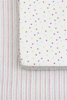 2 Pack Dotty Fitted Sheet