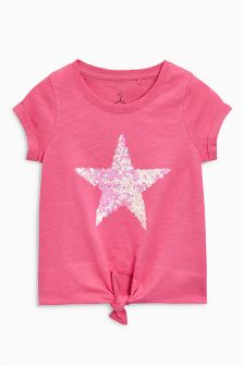 Pink Shooting Star Tie Front T-Shirt (3-16yrs)