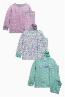Green Bunny Snuggle Pyjamas Three Pack (9mths-8yrs)