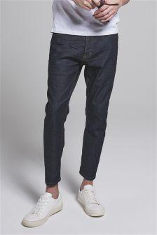 Dark Raw Denim Cropped Jeans With Stretch