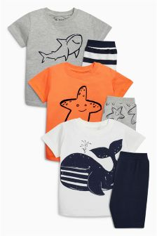 Multi Seaside Short Pyjamas Three Pack (9mths-8yrs)