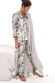 Mint Geometric Print Button Through Pyjamas