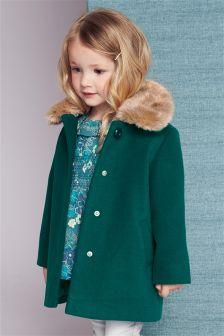 Teal Faux Fur Collar Coat (12mths-6yrs)