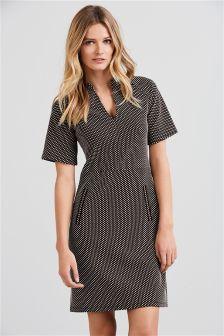 Monochrome Spot Jacquard Dress