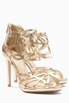 Gold Cage Shoe Boots