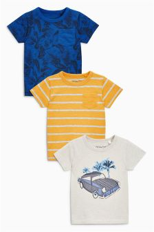 Ecru/Blue/Yellow Short Sleeve Car T-Shirts Three Pack (3mths-6yrs)