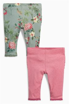 Pink/Khaki Leggings Two Pack (0mths-2yrs)