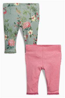 Pink/Khaki Leggings Two Pack (0mths-2yrs)