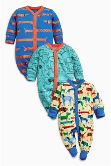 Bright Dog Sleepsuits Three Pack (0mths-2yrs)