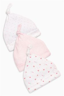 Pink Tie Top Hats Three Pack (0-18mths)