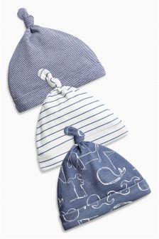 Navy Bon Voyage Tie Top Hats Three Pack (0-18mths)