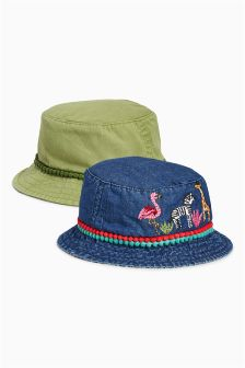 Denim/Khaki Fishermans Hats Two Pack (Younger Girls)