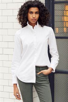 White Pleated Collar Shirt
