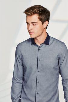 Blue Contrast Collar Shirt